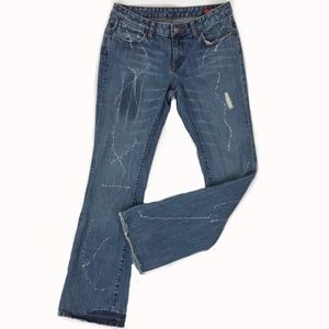 Seven 7 Distressed Bleached Boot Cut Jeans